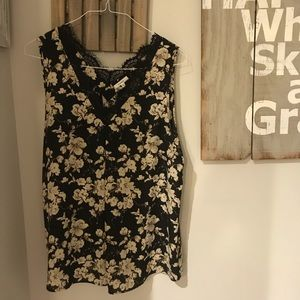Floral Tank with Lace Detail